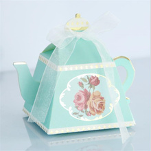 50pcs/lot Teapot Small Boxes For Gifts Afternoon Tea Pastry Packaging Box DIY Creative Candy Wedding Gift 8.5x8.5x6cm