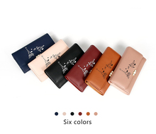 Pearl Wallet Female PU Leather Womens clutch Wallets Women Many Departments Eiffel tower bags card holders Long Purse