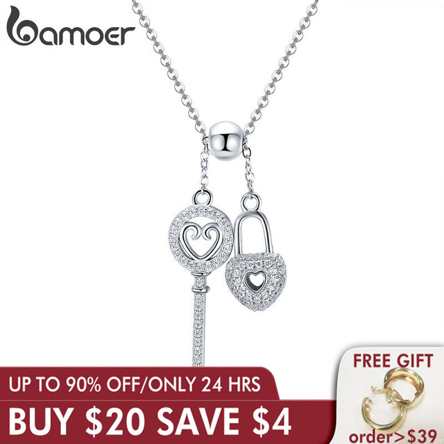 BAMOER רומנטי 925 סטרלינג כסף מפתח של לב נעילת שרשרת תליון שרשראות לנשים סטרלינג כסף תכשיטי צווארון SCN290