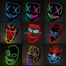 New Style Halloween Party Mask LED Light Flashing Rave Decoration  Up Neon
