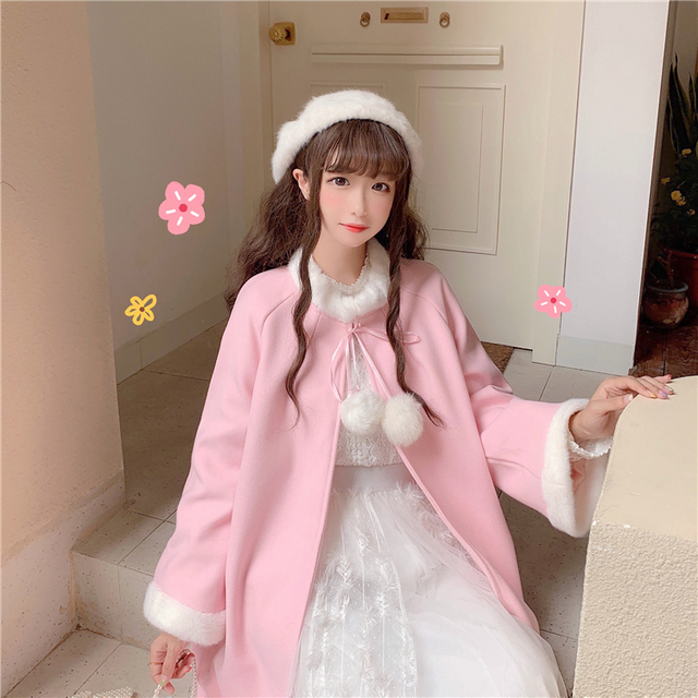 Sweat Outerwear women's autumn and winter 2020 new sweet and lovely wool collar loose tie cloth Cape long student coat 2