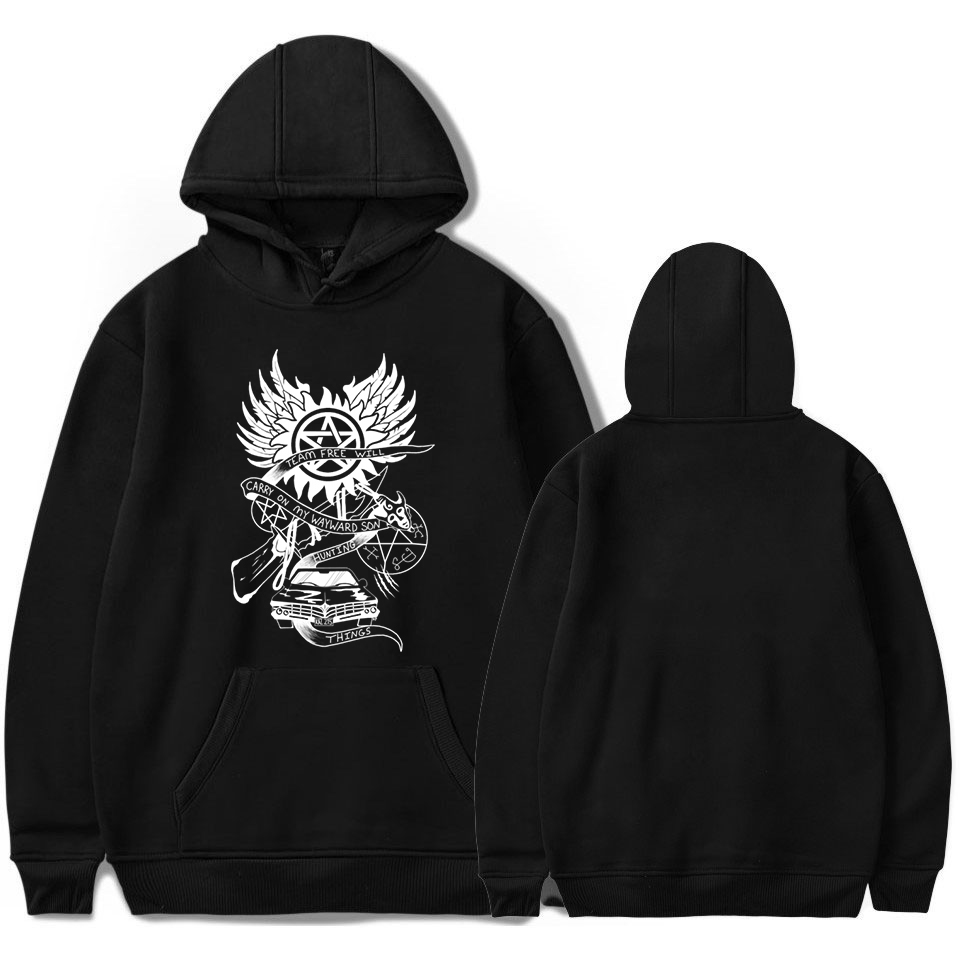 New Supernatural Hoodies Sweatshirts Men Winter Fleece Harajuku Top Womens Clothing Pink Black Hoodie Hip Hop Streetwear Clothes