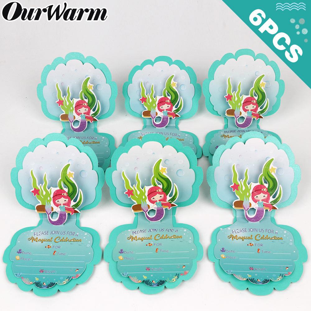 OurWarm Mermaid Party Decoration Invitation Card Mermaid Gift Candy Bags Paper Box For Guest Birthday Baby Shower Party Supplies