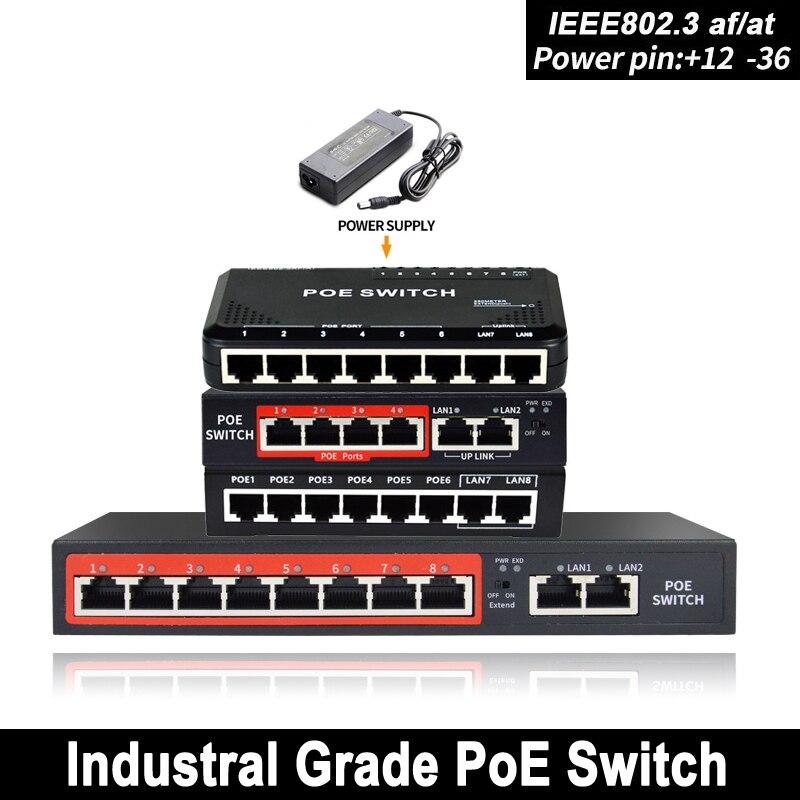 48V 90W Netzwerk POE schalter Ethernet mit 6 RJ45 Netzwerk Ports IEEE 802,3 af/at Geeignet für CCTV kamera system/Wireless AP