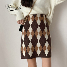 خمر المعين منقوشة الحياكة فستان قصير 2020 موضة النساء عالية الخصر الورك حزمة خطوة واحدة قصيرة سترة تنورة B 010