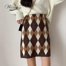 Vintage Raute Plaid Stricken Mini Kleid 2020 Mode Frauen Hohe Taille Hüfte Pack Einen Schritt Kurze Pullover Rock B 010