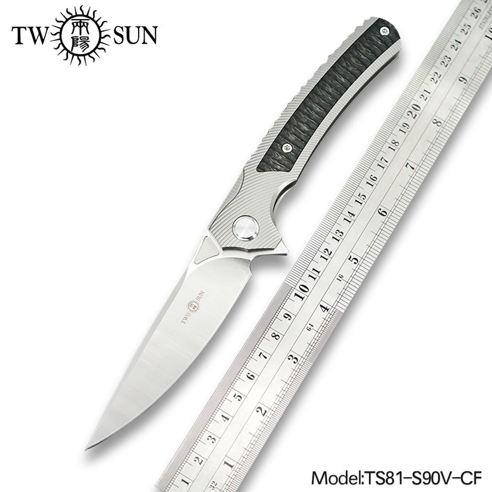 TWOSUN S90V folding Pocket Knife tactical knife outdoor hunting knife survival tool EDC TC4 Titanium Carbon Fiber Fast Open TS81