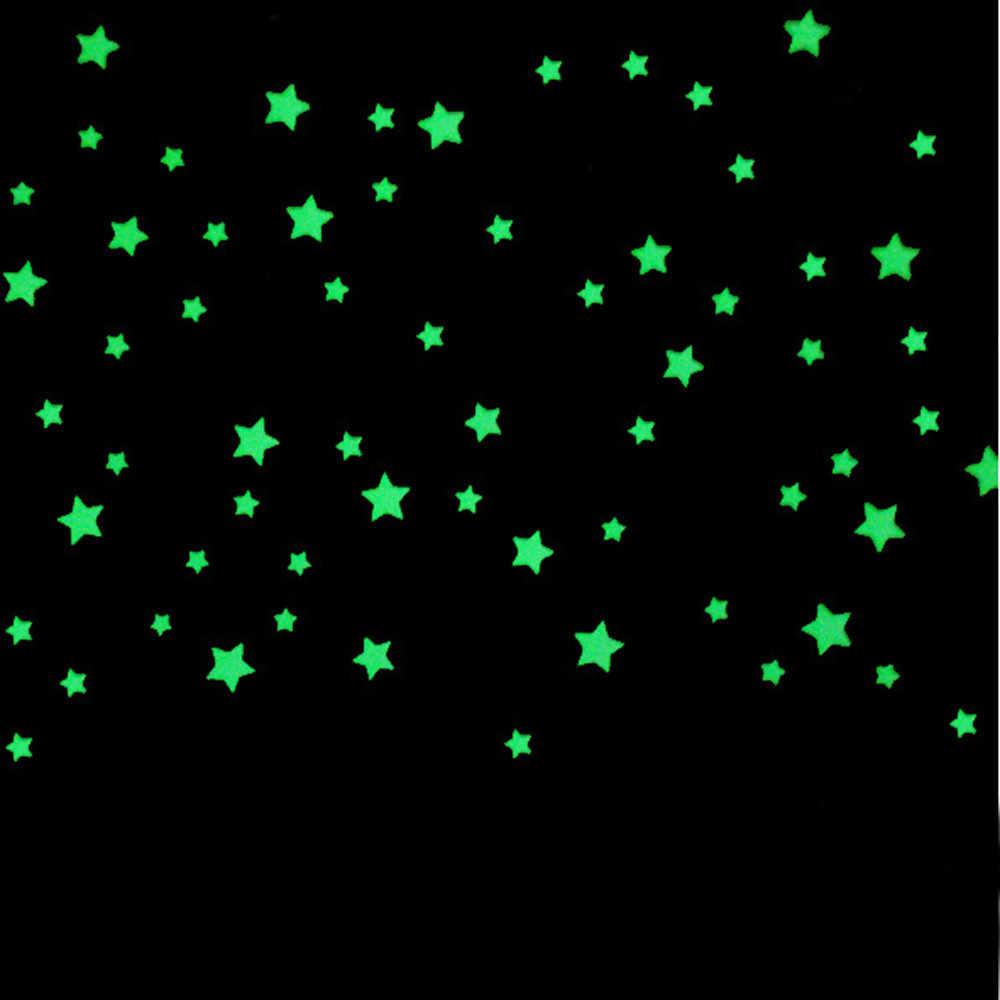 100 sztuk gwiazdy ściany naklejki dekoracja do pokoju dziecięcego piękne fluorescencyjne gwiazdy świecące w ciemności naklejki ścienne