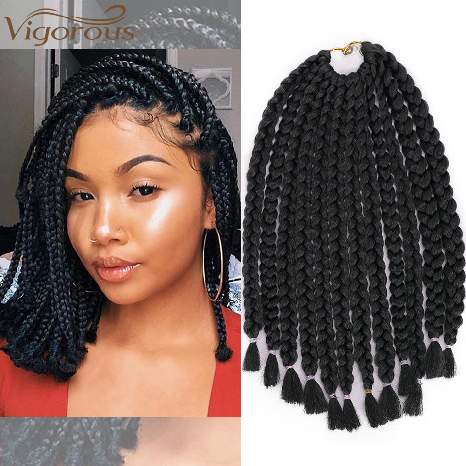 Vigorous 14 Inch Micro Box Braids Crochet Braid 12 Strands Ombre Synthetic Braiding Hair Extension For Women 6 Color Available
