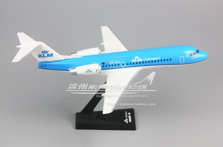 32cm PlasticRoyal Dutch Airlines  Plane Model Fokker F-70 PH-KZU Airplane Model W Stand Aircraft Gift