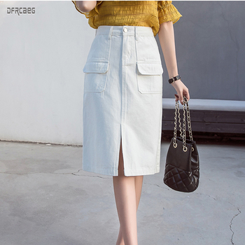 Summer 2019 Women Demin Skirts  Office Lady Style Hip Clothes White Korean Midi Jeans Skirt Femme