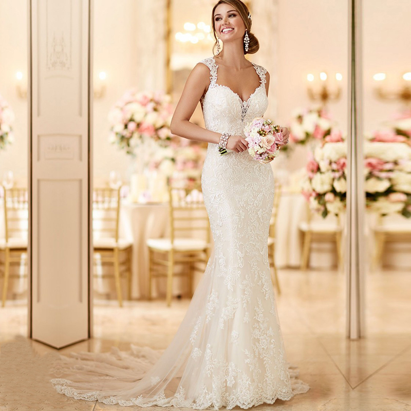 In Stock Vestido de noiva Cheap Long TraIn Boho Wedding Dress 2019 Sexy Backless Lace Mermaid