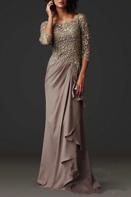 Vestido Novia 2018 Modest Evening Gown Elegant Lace Formal Arabic Party Gowns With Long Sleeves Mother Of The Bride Dresses