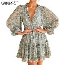 GIKING Autumn Chiffon Boho Dress Women 2019 Fashion Lantern Sleeve Ruffle V Neck Vintage Mini Dresse Pink White Vesdios