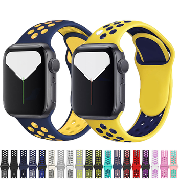 Silicone Strap for apple watch band 44mm/42mm/40mm/38mm Sport bracelet Apple strap series 6 5 4 3 2 watchband