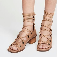 new 2020 brand leather women sandals rome style lace up shoes woman brown white dress casual shoes gladiator sandals size 34-39