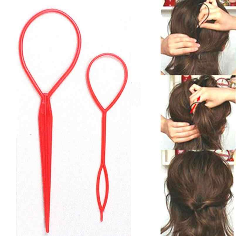 2pc Plastic Hair Loop Tools Generic New Magic Topsy Tail Hair Braid Ponytail Cl ip Bun Maker For Girls Hairstyles