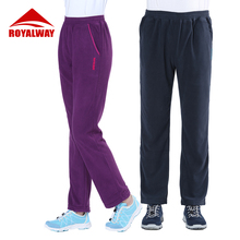 ROYALWAY New Outdoor Sport Couples Training Exercise Pants Comfortable Hiking Parkour Fishing Fleece RFPL3214G&RFPM3215G