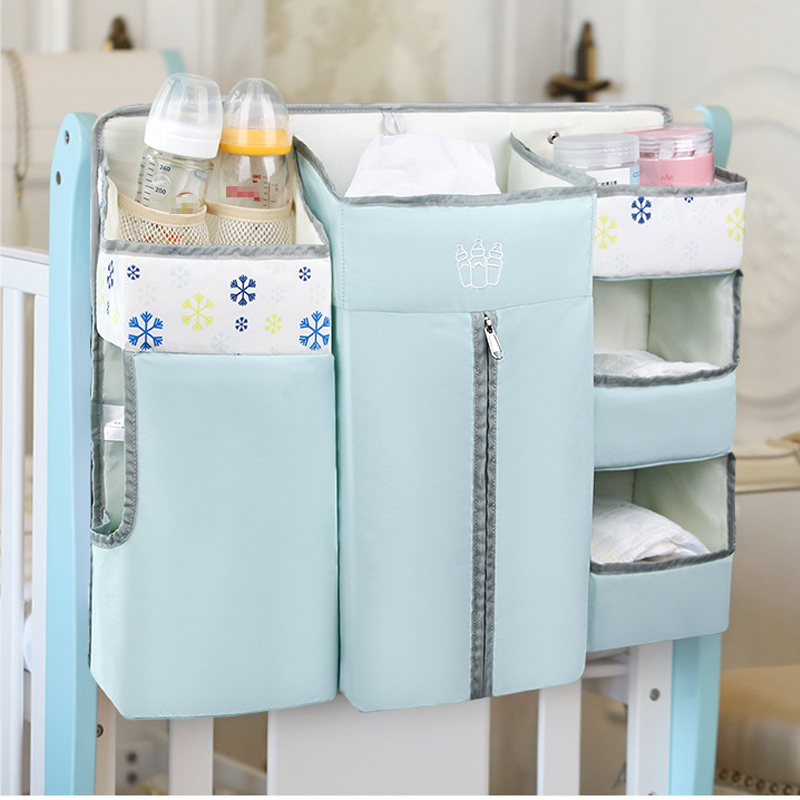 Baby Crib Organizer Bed Hanging Diaper Caddy Storage Bag Diaper Stacker For Nursery Diaper/Clothes/Feeding Bottle