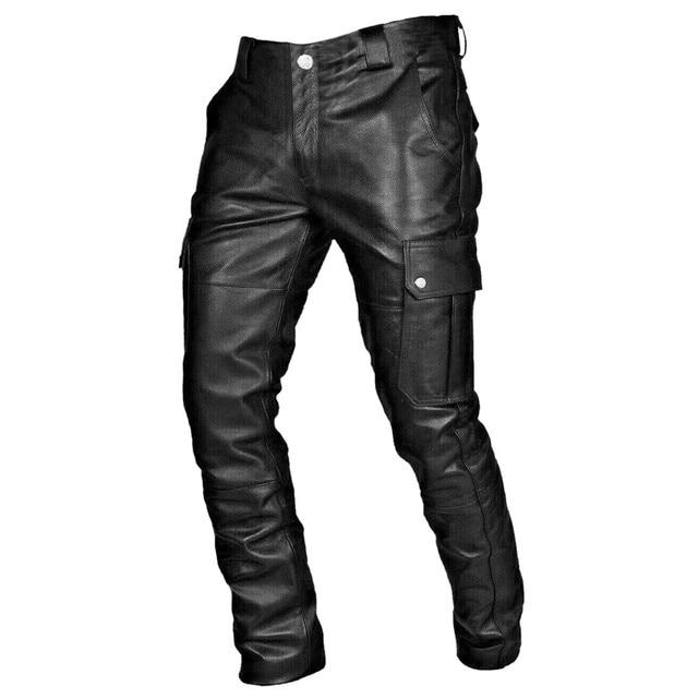KANCOOLD Faux Leather Pants Punk Retro Pencil Casual men's pants Goth Mid Slim Broadcloth Full Length Pants Trousers D23 1
