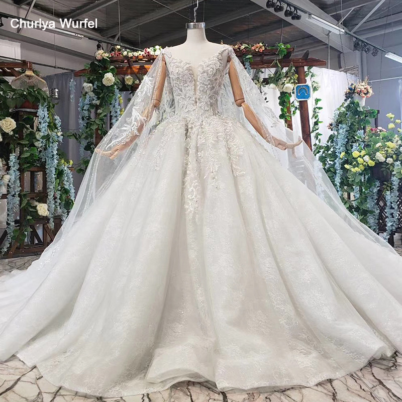 HTL578 Detachable Mantle Wedding Dresses Big V-neck Spaghetti Straps Lace Up Back Summer Bridal Gowns Robe De Mariee Boheme