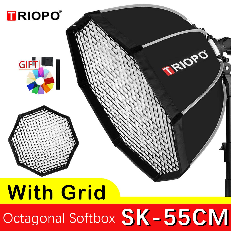 TRIOPO 55cm Octagon Softbox Grid Umbrella Softbox With Handle For Godox On-Camare Flash Speedlite Photography Studio Accessories