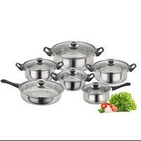 Juego de utensilios de cocina de acero inoxidable, sartén, cazuela, 6 unidades
