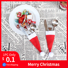 Hot Sale 2019 1PC Christmas Decorative tableware Knife Fork Set Lovely Christmas Hat Storage Tool enfeites de natal Gift 1 pc(China)