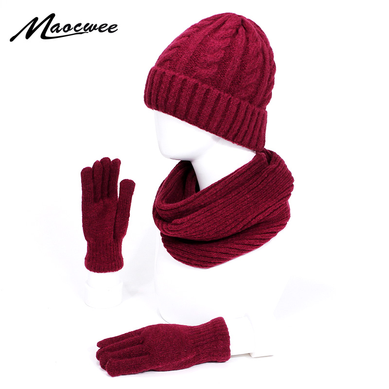 New Winter Knitted Scarf Hats Glove Sets For Women Man Outdoor Warm Thick Windproof Scarves Skullies Beanies Hat Three-Piece Set