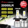 Bullvision H7 светодиодный головной светильник лампочка 20000LM H4 H1 H11 H8 H9 9005 9006 HB3 HB4 3000K 4300K 5000K 6500 к 8000 противотуманных фар светильник мини размер 12V