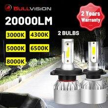 Bullvision 20000LM H7 Faróis de LED de Alta Brilhante H4 H1 H11 H8 H9 9005 9006 HB3 HB4 3000K 4300K 5000K 6500K 8000K Car Light Bulbs