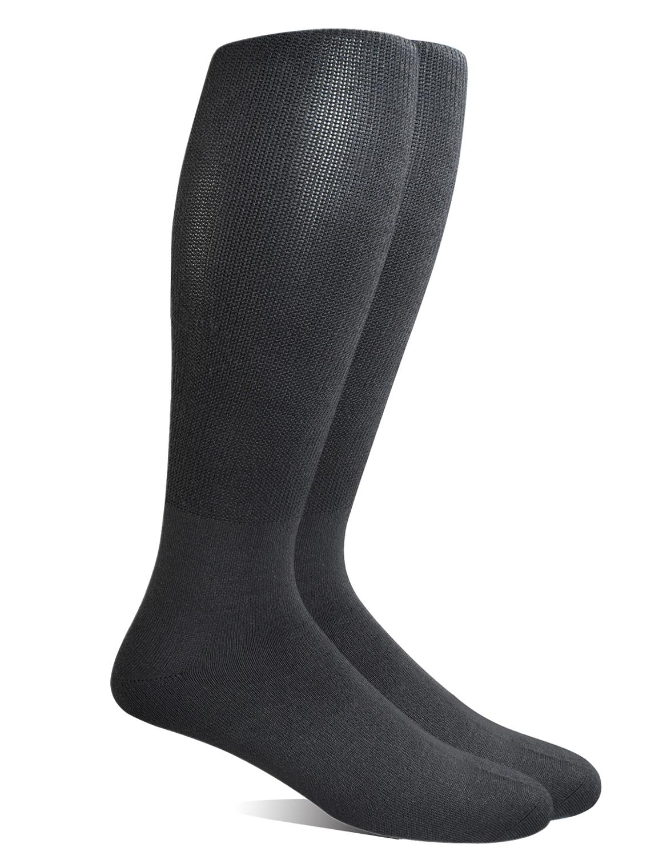 Yomandamor Mens 4 Pairs Over The Calf Super Soft Diabetic/Dress Socks With Seamless Toe