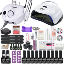 Manicure Set Acryl Nail Kit Met 120/80/54W Nagel Lamp 35000Rpm Nail Boor Machine Kiezen gel Nagellak Alle Voor Manicure
