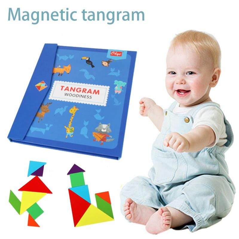 Children Wooden 3d Magnetic Tangram Jigsaw Puzzle Travel Game Montessori Learning Educational Drawing Board For Kids Brain Tease