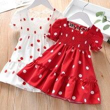 Vestido de princesa para niña, vestido de verano con lunares, vestido francés elegante de línea a para vacaciones, viaje, fiesta, regalo de cumpleaños