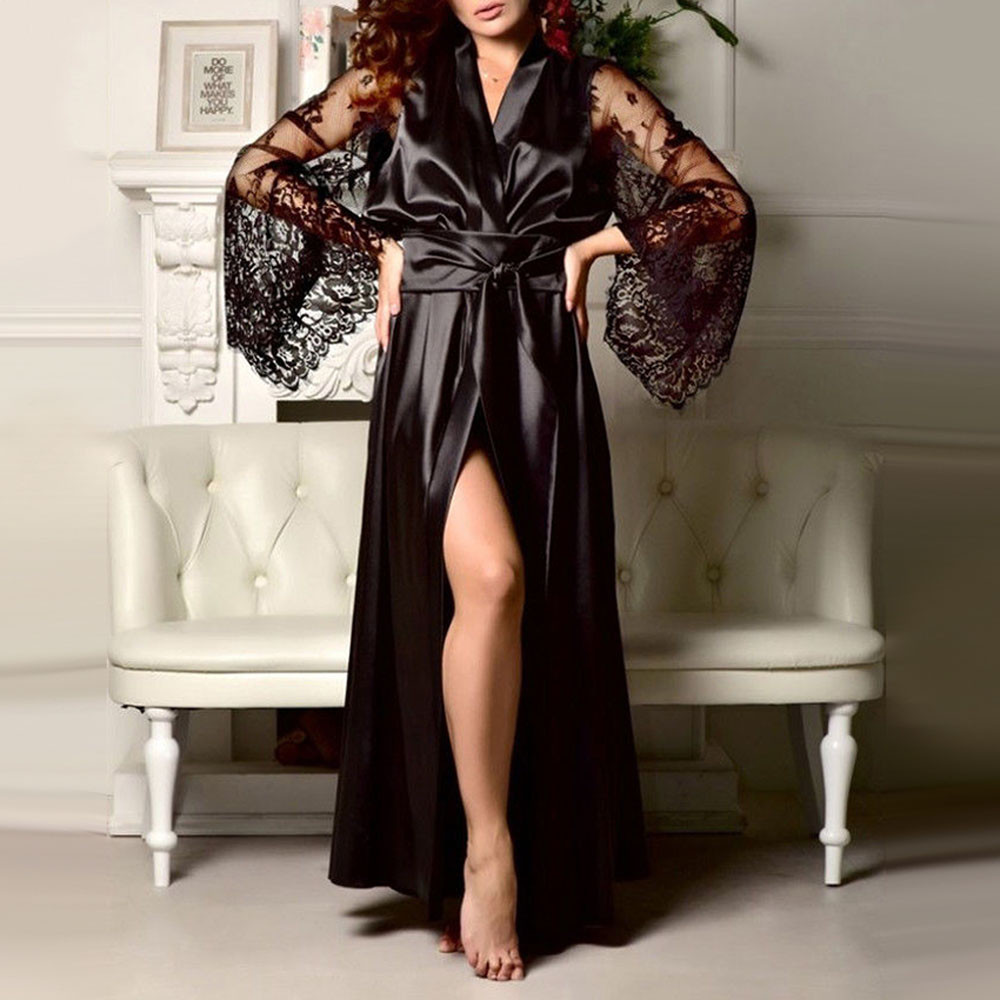 Women Nightwear Lace Satin Silk 2019 Sexy Belt Tie Lace Long Sleeve Sexy Homewear Sleepwear Robe For women Plus Size Robe #1008(China)