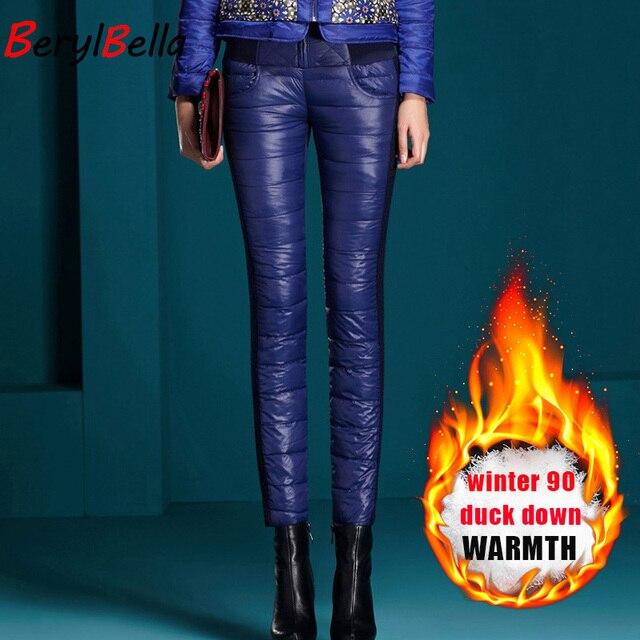 BerylBella kış kadın pantolon rahat yüksek bel fermuar İnce çift yüzlü ördek aşağı sıcak siyah mavi kalem pantolon pantolon