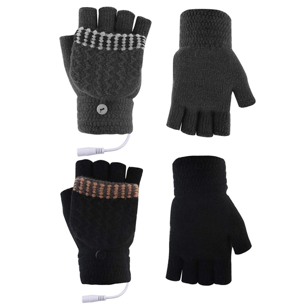 Men Women USB Heated Gloves Electric Hand Warmer Thermal Cycling Skiing Gloves Outdoor Winter Mittens Half Fingerless Gloves