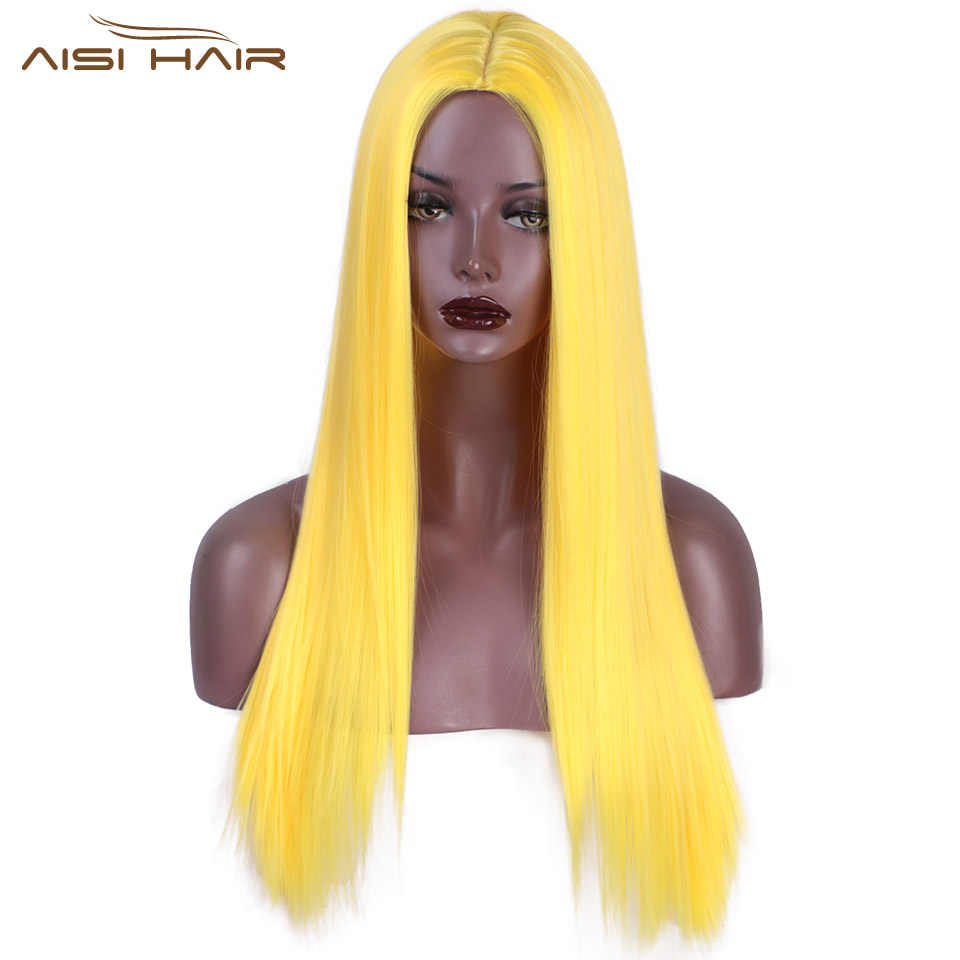 I's a wig Yellow Color Synthetic Long Straight Wigs for Women Pink Purple Orange Colorful Cosplay Wig Middle Part Nature Hair