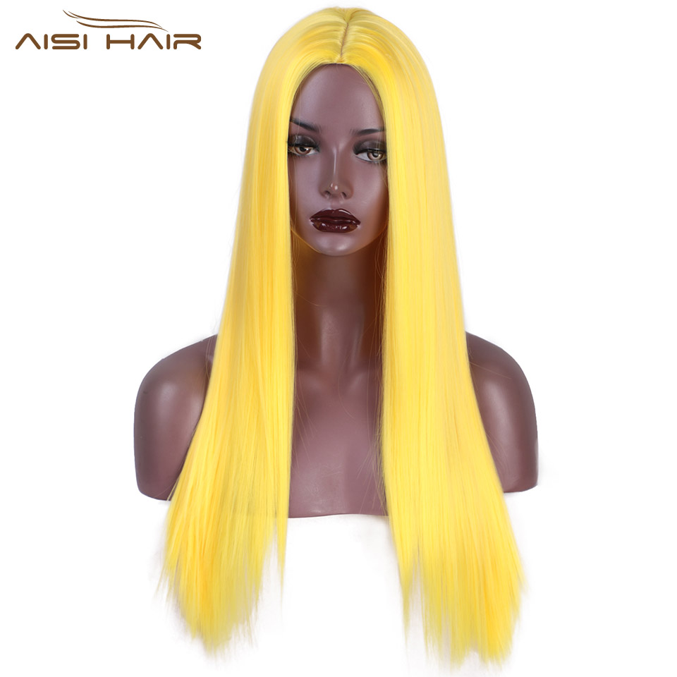 I's A Wig Yellow Color Synthetic Long Straight Wigs For Women Pink Purple Blonde Colorful Cosplay Wig Middle Part Nature Hair