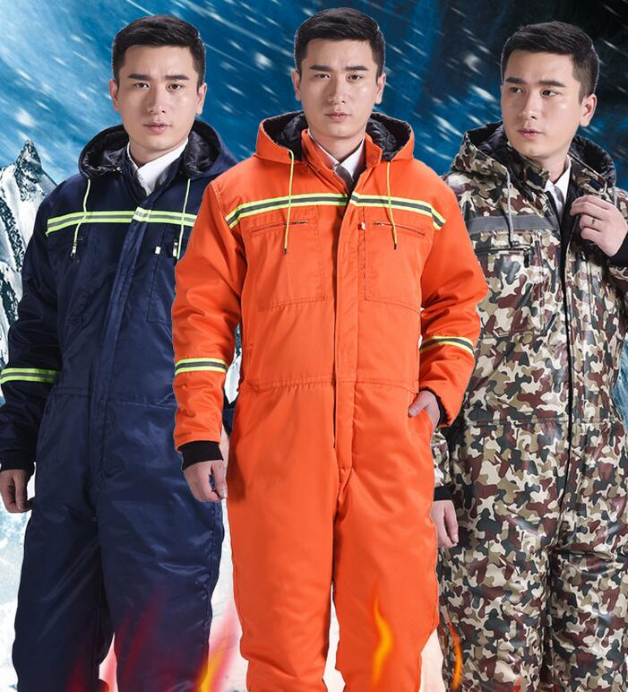 Men's Winter Cotton-padded Thick Warm One-piece Work Tooling Cold-proof Coveralls Pockets Overalls Auto Repair Dust-proof Plus