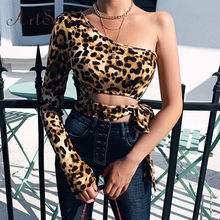 Artsu Sexy One Shoulder Cropped Tops Leopard Print Lace up T-shirts for Women Slim Fashion Autumn Winter Tees New ASTS60676
