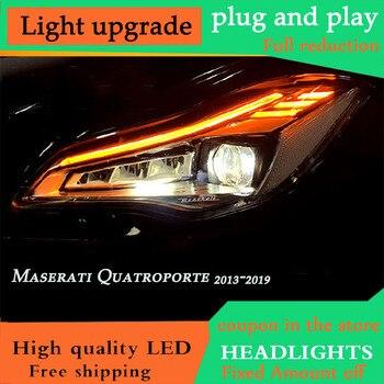 DY_L Voiture Style pour Maserati Quattroporte Phares 2013 2014 2015 2016 2017 2018 2019 pour Quattroporte PLEINE LED Phare DRL