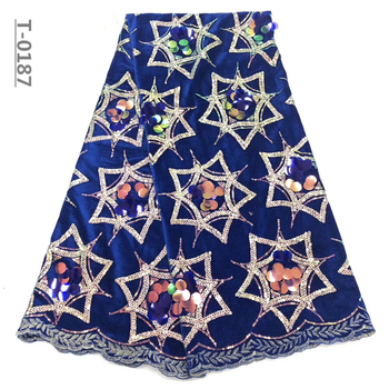 Best Selling Latest African Velvet Lace Fabrics With Sequin High Quality Royal Blue Embroidery French Lace For Evening Dress
