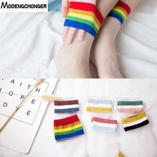 1Pair Summer Thin Section ladies Socks Fashion Rainbow College Wind Glass Silk Crystal Colorful Striped Womens Midum Long