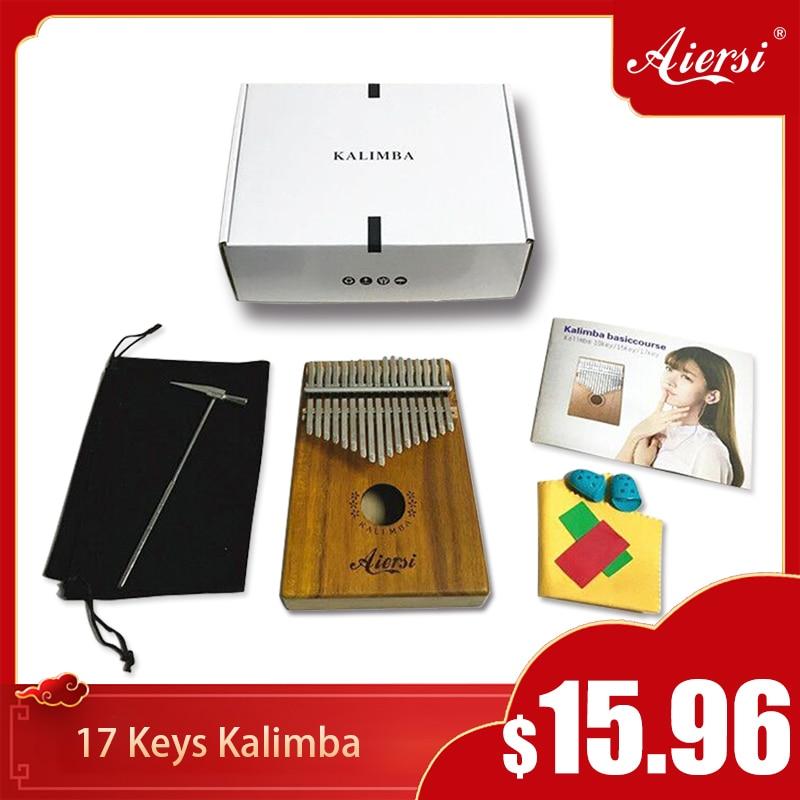 Aiersi Solid Koa 17 Keys Kalimba Thumb Piano Musical Instrument With Song Book Tune Hammer And Bag