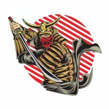 Samurai with Mask Katana Sword Cartoon Car Stickers Laptop Bumper Truck Yacht Motorcycle Waterproof Decal Decoration KK13x11cm