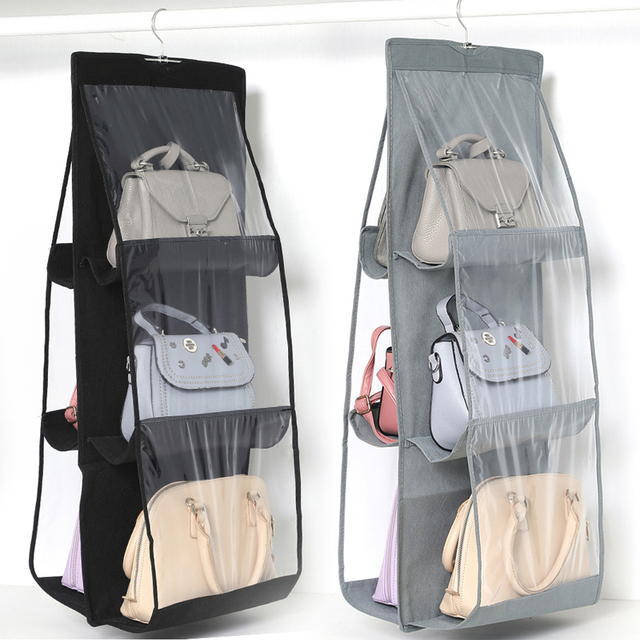 6 Pocket Hanging Handbag Organizer for Wardrobe Closet Transparent Storage Bag Door Wall Clear Sundry Shoe Bag with Hanger Pouch 1