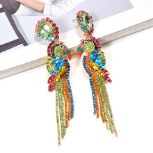 ZA Bird-Shaped Dangling Long Drop Earrings Studded With Colorful Crystals Chain Tassels Fine Jewelry Accessories For Women
