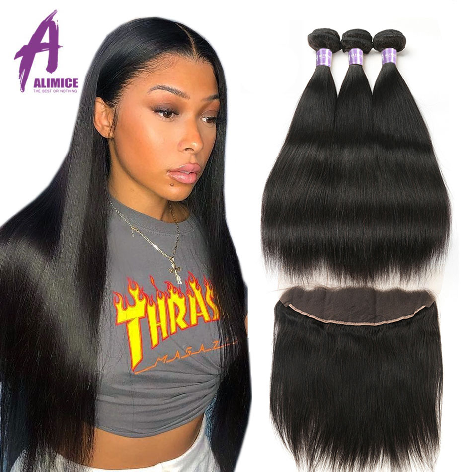 Alimice Indian Straight Hair Bundles With Frontal 13X4 Lace frontal With Bundles Remy Indian Hair Weave Human Hair Extensions